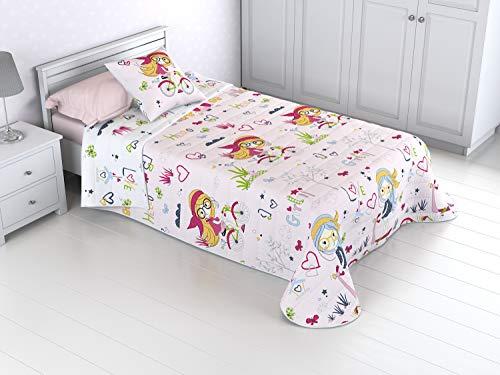 HM'S HOME'SECRET Colcha Bouti Infantil Reversible 100% con Funda de cojín y Tacto algodón BICIS (90 (180x270))