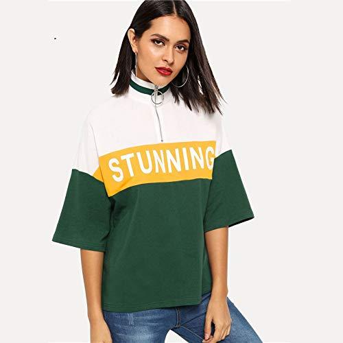 LIULINUIJ Colorblock Letter Print Tee Damen Dreiviertel-Länge Ärmel Tops Streetwear Stehkragen Casual T-Shirts