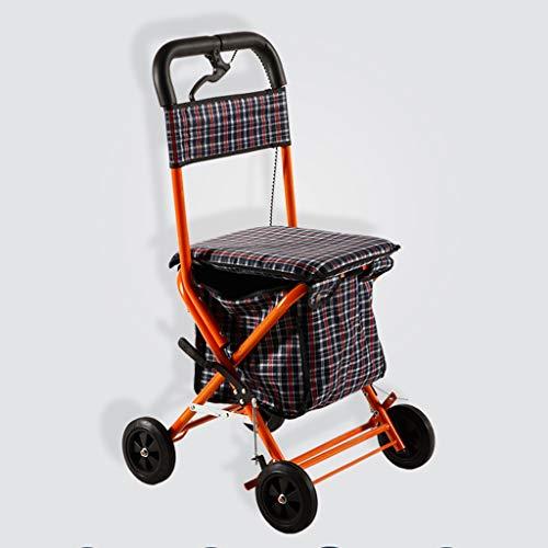 ShenZuYangShop winkelwagen staal senior winkelwagen opvouwbare verstelbare lichtgewicht winkelwagen vier wielen zitten walker rollator