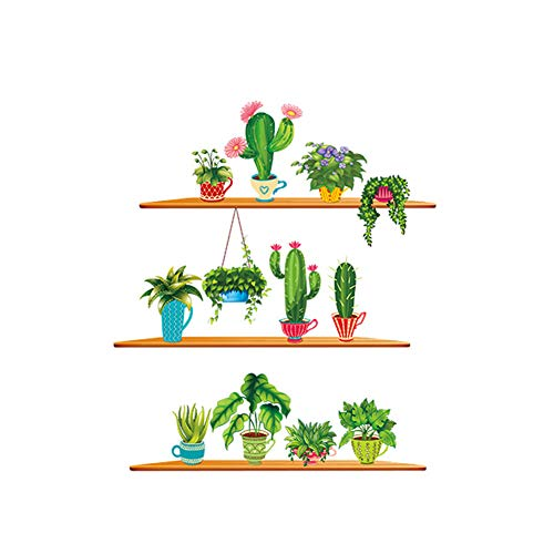 Adesivi Murali Rimovibili, 90 * 30 * 2CM Piante Cactus Creativo Adesivi Rimovibili Verdi della Parete della Parete Stickers Cartoon per pareti Fai da Te Poster Decalcomanie a Muro