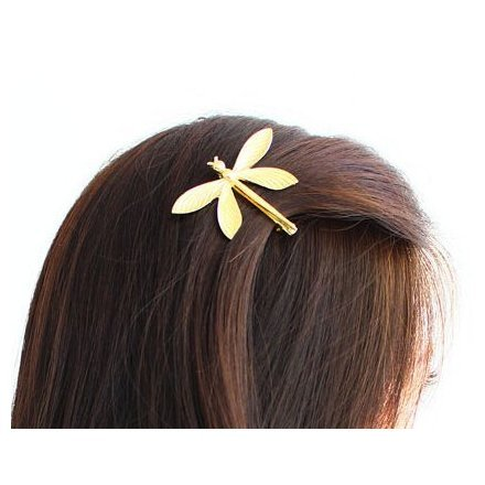 Cuhair(tm) 1pc Mothers Day gift party Wedding Princess Gold Metal Dragonfly Hair Clip Hair Pin Accessories for Women Girl Baby