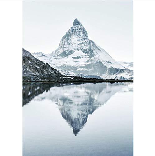 HTBYTXZ Matterhorn Berggipfel Baum Boot See Wandkunst Malerei Nordic Poster und Druck Wohnzimmer 60x90cm No Frame
