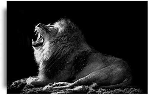 ZxwdLeinwand Malerei Drucke Drucken Kreative Schwarz Weiß Brüllender Löwe Tier Poster Tiere Wandbilder Wohnzimmer Wohnkultur Mit Rahmen Geschenk