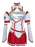 Infinity Moment Version Yuuki Asuna Uniform Outfit Dress Cosplay Costume (Female XL) White,red