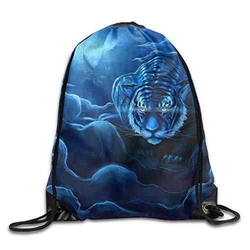 NA Trekkoord Rugzak Rugzak Schoudertassen Cool Blue Tiger Gym Trekkoord Rugzak Unisex Draagbare Tassen 16.9