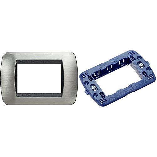 BTicino L4803ACS Placca di finitura 3 Moduli, Grigio/Nero (Acciaio/Antracite) & SLN4703F Livinglight International Supporto a 3 Moduli
