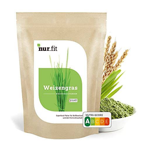nur.fit Weizengras Pulver 500g - reines Weizengras Green-Smoothie-Pulver aus schonender Herstellung ohne Zusatzstoffe –Weizengras in Rohkostqualität mit Vitaminen & Mineralstoffen