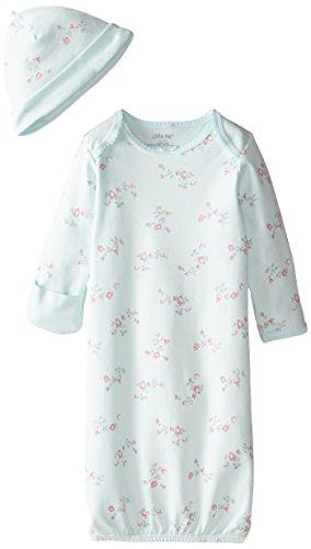 Little Me Baby-Girls Newborn Floral Spray Gown and Hat, Mint Print, 0-3 Months