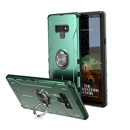 Jonwelsy Funda para Samsung Galaxy Note 9, Shockproof Flexible Silicona Carcasa + Aleación de Aluminio Cover con Rotación de 360 Grados Anillo iman Kickstand para Samsung Galaxy Note 9 (Verde)