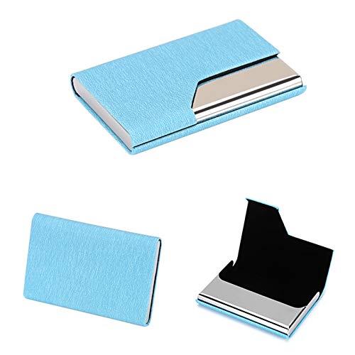 2021 Business Card Holder, Business Card Case, Pocket Name Card Holder, Slim Business Cards Holder, Credit Card Holder Wallet for Women & Men with Magnetic Shut (A-Sea Sky Blue)