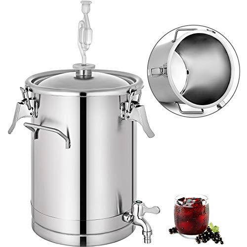 BuoQua Barril Cerveza de Acero Inoxidable 15L Dispensador de Cerveza Fermentador de Cubo Alambique Destilacion Tirador de Cerveza Enfriador Cerveza de Acero Inoxidable Barril Cerveza