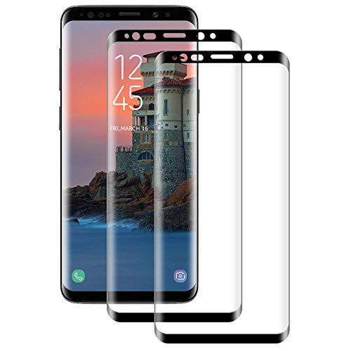 DASFOND Cristal Templado para Samsung Galaxy S8 Plus/S8+, Protector de Pantalla [2 Pack] Cobertura Completa, Dureza 9H, 3D Curvado, Anti Huellas Vidrio Templado Protector de Samsung S8 Plus