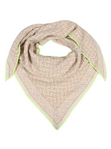 Zwillingsherz Dreieckstuch mit Kaschmir - Hochwertiger Schal im Zick-Zack Design für Damen Jungen und Mädchen - 2020 - Hals-Tuch und Damenschal - Strick-Waren für Frühjahr Sommer und Winter - beig/grü