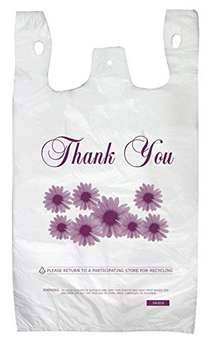 Thank You Shopping Bags Case of 500 T-Shirt Bags 12'x 6' x 22' Heavy Duty 16 Micron Reusable/Disposable Grocery Bags