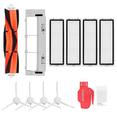 DingGreat Kit Accesorios de Recambio para Dreame F9 / Xiaomi Mijia 1C Aspiradora robot - 4 Cepillo Lateral, 1 Cepillo Principal, 4 Filtro HEPA, 1 Tapa del Cepillo Principal, 2 Cepillo de Limpieza