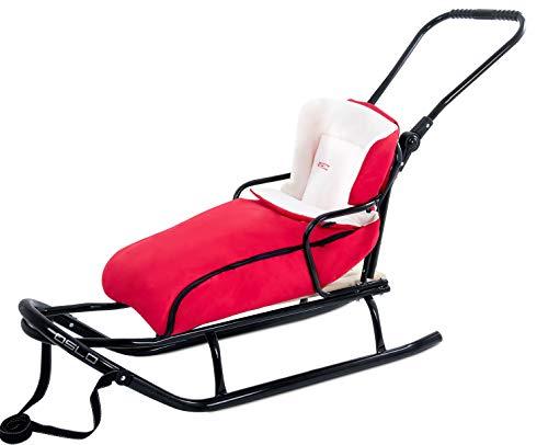 GagaDumi Schlitten aus Metall mit Rücklehne, Schubbügel und Fußsack Babyschlitten Rodel Oslo (O5-Rot)