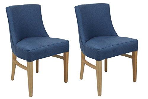Meubletmoi Set mit 2 Stühlen aus Stoff – Struktur aus Buchenholz und trendiges Design – sehr bequeme Sitzfläche – Sherlock