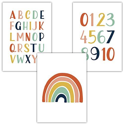 Frechdax® 3er Set Kinderzimmer Poster Babyzimmer DIN A4 ohne Bilderrahmen | Mädchen Junge | Kinderposter Bilder (3er Set Bunt, Alphabet, Regenbogen)