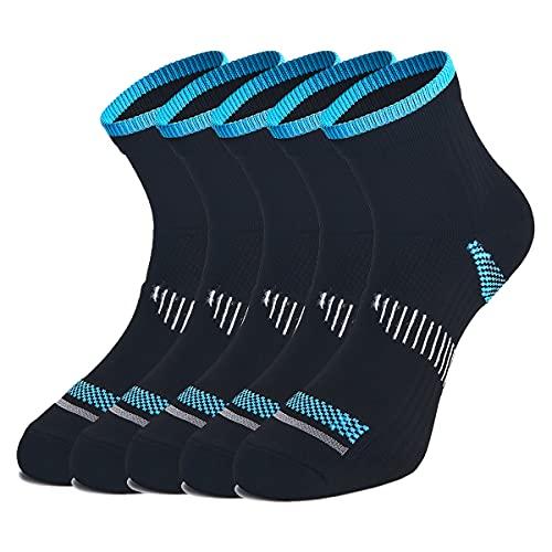 WEEKEND PENINSULA 5 Pares Calcetines de Running Deportivos Compresión Ligera Hombres Mujer de Deporte Transpirables (Negro, l)