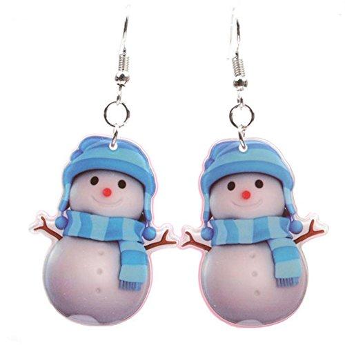 Scrox 1Paar Mode Damen Ohrringe Glänzend Exquisit Weihnachtsohrringe Blau Weihnachten Schneemann Anhänger Ohrringe Ohrstecker Weihnachten Schmuck Zubehö Geschenk