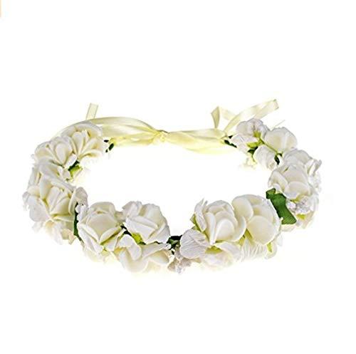 Girls Flower White Headbands Wrist Brand Crown Princess Birthday Wedding Bridal Hair Wreath Floral Headband (White)