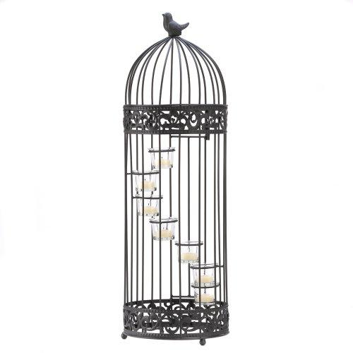 Gifts & Decor Cage à Oiseaux Style Escalier Photophore pour Bougie avec Support