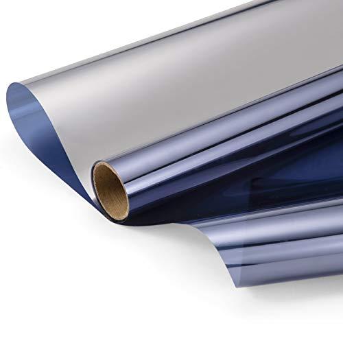 Zjelky - Lámina de privacidad para ventanas, protección solar, protección visual, lámina de espejo, aislamiento térmico, protección UV, lámina autoadhesiva, azul, 90 x 210 cm+90 x 610 cm