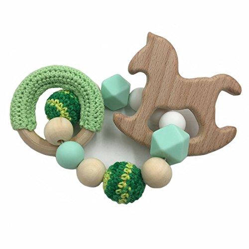 Mamimami Home Beb/é de madera mordedor animal Sonajero perlas de ganchillo org/ánico bricolaje pulsera masticable regalo ducha beb/é dentici/ón juguetes