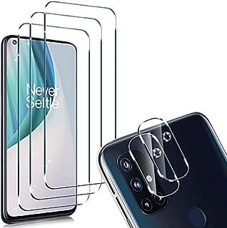 [6 عبوات] لواقي شاشة OnePlus Nord N10 5G (3 حزم) مع 3 عبوات من بروتين عدسة الكاميرا، مقاوم للخدش عالي الدقة، خالٍ من الفقا...