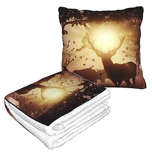 Hirsch Herbst Sonnenlicht Bäume Kissen Decke Warme Flanell Decke mit Reißverschluss Premium Weich 2 in 1 Flugzeug Decke Gemütlich Tragbar Plüsch Überwurf Decken für Sofa Schlafzimmer Auto