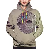 Men's Hoodies 3D Print Pullover Sweatershirt,Small Planet Under UFO Death Star Fantastic Fictional Outer Space Themed Pattern,S