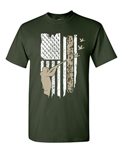 Hunting Flag Gun Rifle Hunt Duck American Flag USA Adult DT T-Shirt Tee (X Large, Forest Green)