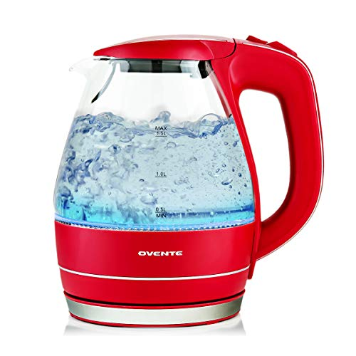 Ovente KG83R 1.5 Liter BPA Free Glass Cordless Electric Kettle, Red