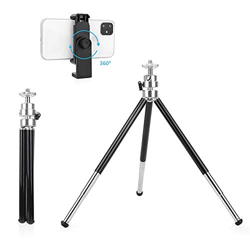 Mini Tripod, 6-12 in Small Tripod Stand with Phone Holder, (2rd Generation,Double-Layer Designed),Lightweight Tripod for Cellphone/Webcam/Gopro/Small Camera