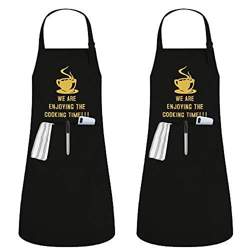 JSDing Delantal Cocina Mujer Hombre (2 Piezas) Impermeables Cocina Delantale con Bolsillo Ajustables Delantal de Cocina para Chef Carniceros Barbacoa Restaurante Bistro Escuela Universidad