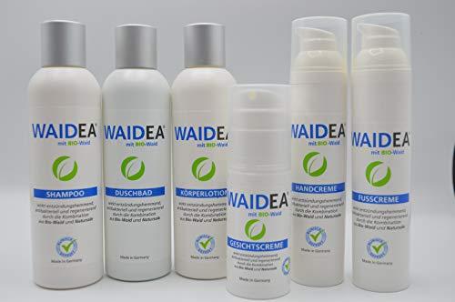 WAIDEA mit BIO -Waid Pflegeserie Komplettpaket zum Vorteilspreis! Shampoo, Duschbad, Gesichtscreme, Handcreme, Körperlotion, FusscremeLotion, Creme, Psoriasis, Neurodermitis, Problem-Haut, Pflege