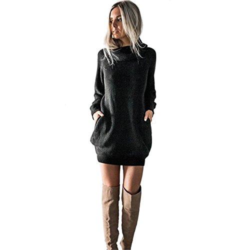Longra Caliente Mujeres de Manga Larga de Punto Jersey Suéter Suelto Jumper Tops de Punto - Vestido de suéter