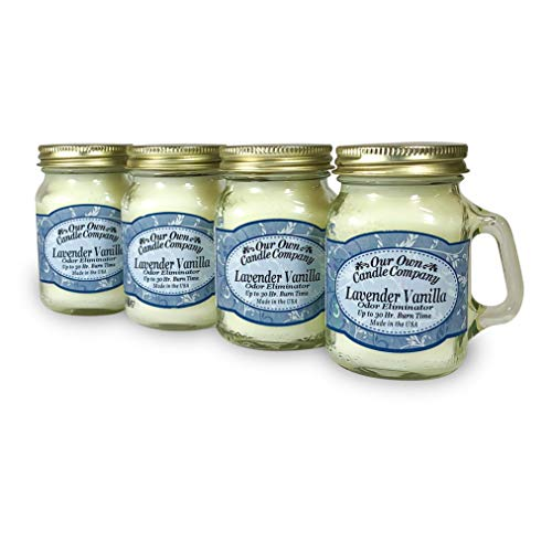 Lavender Vanilla Scented Mini Mason Jar Candle by Our Own Candle Company, 3.5 Ounce (4 Pack)