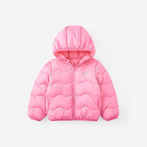 FDSAD Veste Hiver Enfants Nouveaux Vêtements De Couleur Garçons Et Filles Légère Veste Chaude À Capuchon Adapté À La Taille 130Cm Rose Poudre