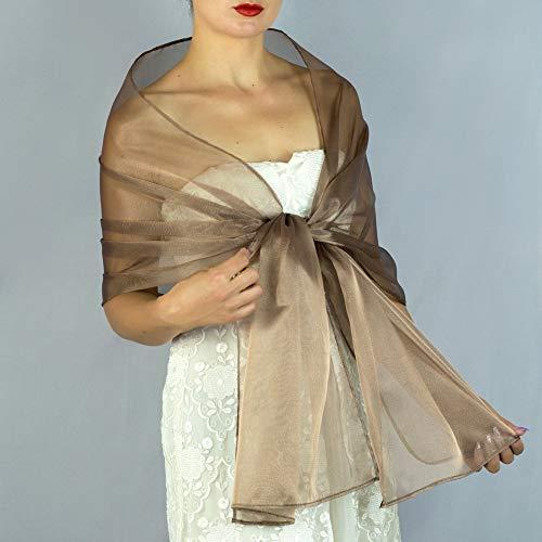 Stole donna organza marrone scialli vestito da sposa nuziale poncho bronzo
