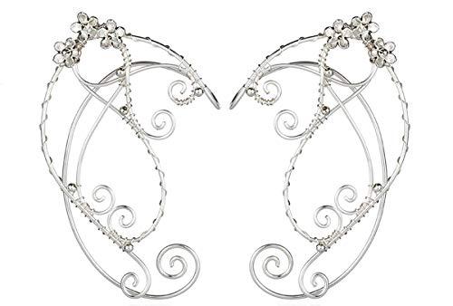 Puños de oreja de duende, pendientes con clip hechos a mano Pendientes de envoltura de puño élfico para mujer - Filigrana de borla de ala de perla - Disfraz de hada de fantasía de (Estilo 2)