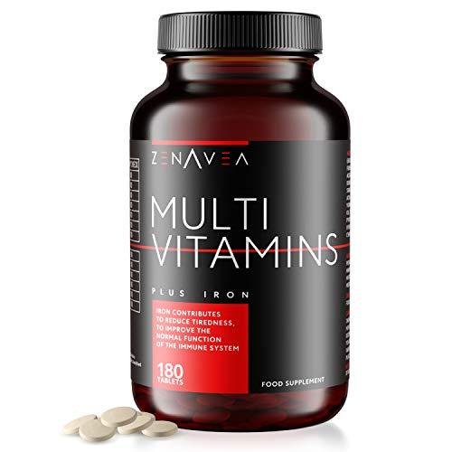 180 Kapseln - Vitamine und Mineralstoffe - Multivitamine, Eisen & Biotin Nahrungsergänzungsmittel - Geeignet für Vegetarier - 6 Monate - Steigern Sie Ihre Energie - Männer & Frauen