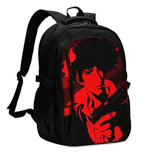 Cowboy Bebop Spike Spiegel Las mochilas para hombre y mujer con cable de datos USB y conector de música se pueden cargar en un solo paso para escuchar canciones