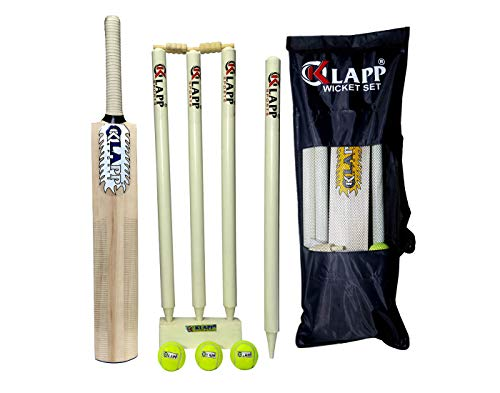 Klapp Willow Cricket Kit With Three Ball, Four Wicket For Boys And Youth (Bat Size:3;White), Off White