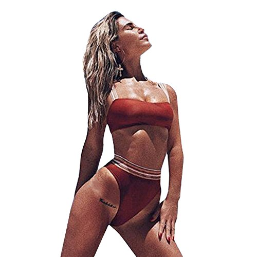 2 Pezzi Donna Bikini Set Banda Bandage Intero Sportivo Coppe Piscina Costumi da Bagno Sexy Imbottiti...