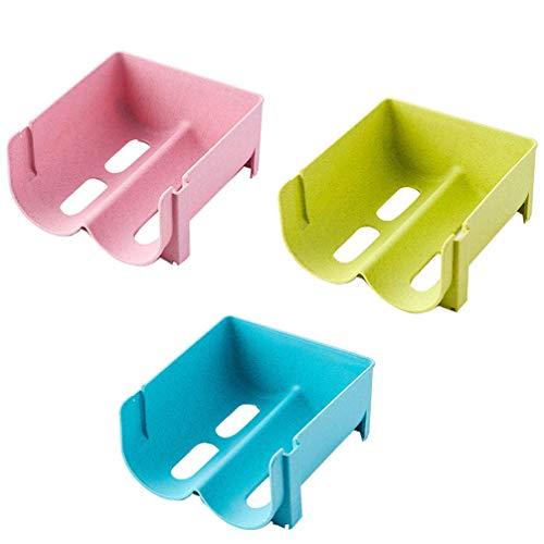 Hemoton Botellero de plástico apilable para frigorífico, 3 unidades, para nevera, cajón organizador para cocina, estantes, frigorífico, despensa de almacenamiento