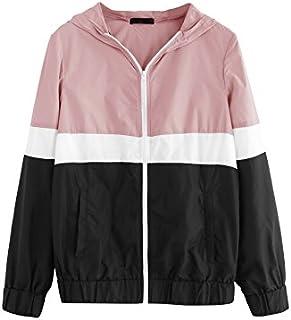 Floerns Women's Color Block Hooded Casual Thin Windbreaker Jacket
