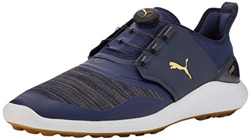 PUMA Ignite NXT Disc, Zapatos de Golf para Hombre, Azul (Peacoat Team Gold White), 39 EU