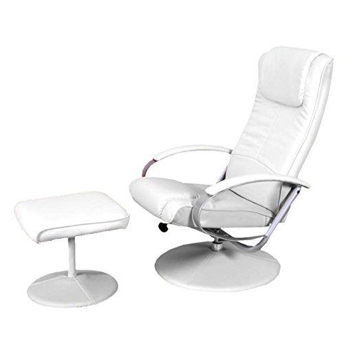 Mendler Relaxliege Relaxsessel Fernsehsessel N44 mit Hocker ~ weiß