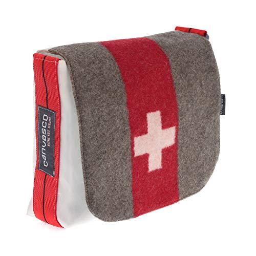 Segeltuchtasche CANVASCO Mini Suisse/Segel weiß/Gurt rot-schwarz/Armeedecke vertikal